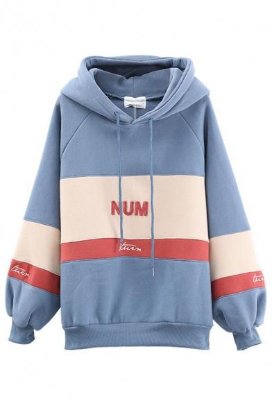 Korean Style Girls' Blouson Sleeve Letter NUM Printed Contrasted Oversize Hoodie in Blue