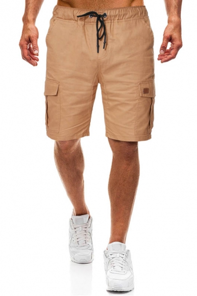 Male Active Solid Color Drawstring Waist Side Pockets Loose Fit Basic Cargo Shorts