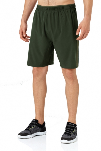 Mens Sportive Colorblock Elastic Waist Quick Drying Breathable Flat Front Shorts