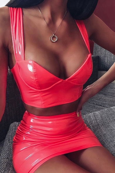 New Stylish Plain PU Leather Cropped Tank Top with Mini Skirt Sexy Two Piece Co-ords