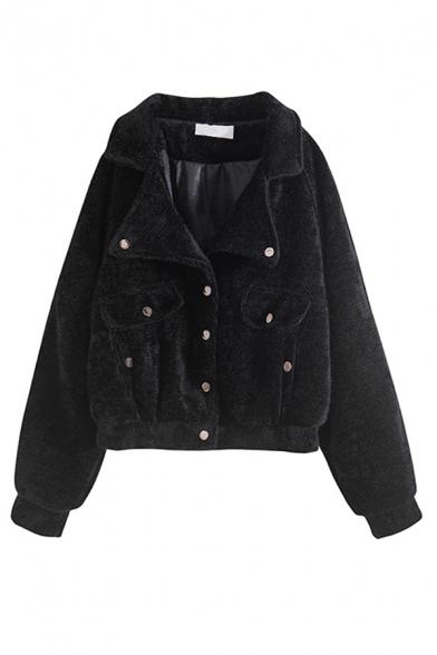 Plain Cozy Long Sleeve Lapel Collar Flap Pockets Button Down Faux Fur Loose Fit Jacket for Girls