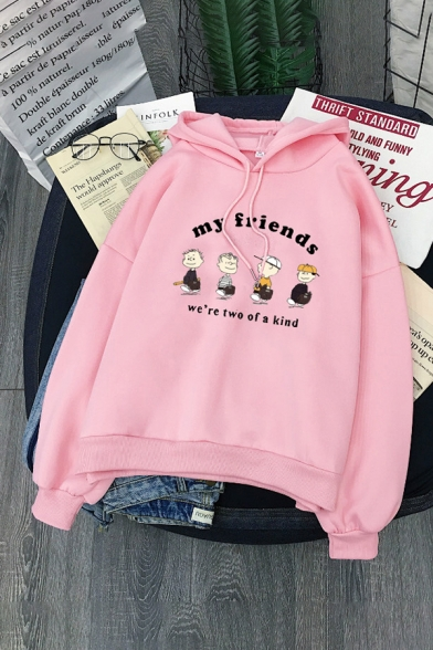 Preppy Looks Long Sleeve Drawstring Letter MY FRIENDS Cartoon Character Pattern Relaxed Fit Hoodie for Girls, Black;blue;pink;gray;yellow;khaki, LM585696
