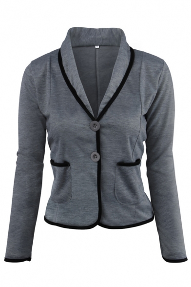 Simple Formal Ladies' Long Sleeve Shawl Collar Button Down Pockets Side Contrast Piped Plain Slim Blazer