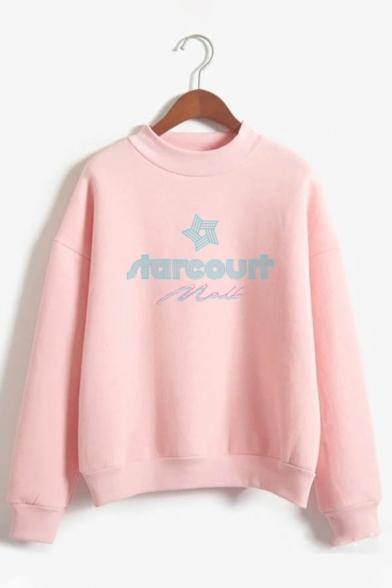 Simple Letter TARCOUIT Star Print Long Sleeve Mock Neck Street Wear Pullover Sweatshirt LC587111 фото