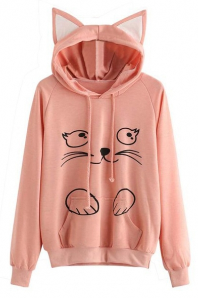 Trendy Cute Girls' Long Sleeve Drawstring Kitty Print Kangaroo Pocket Baggy Cat Ear Hoodie, Burgundy;pink, LM575775