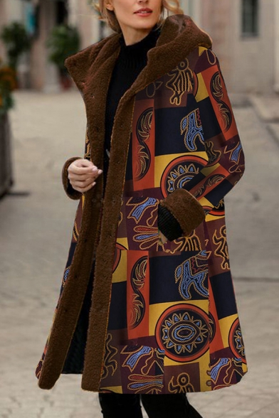 Vintage Women's Long Sleeve Hooded Mixed Patterned Button Front Fluff Liner Oversize Midi Coat in Yellow