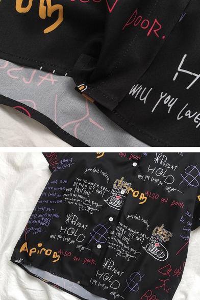 Women's Cool Street Short Sleeve Lapel Print Button Down All Over Letter Print Oversize Shirt in Black