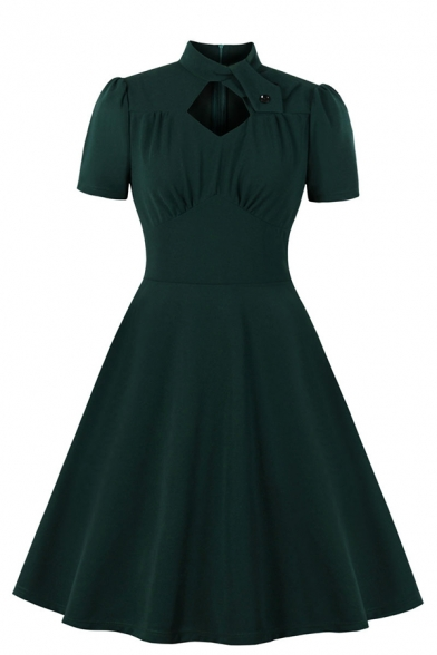 Women's Formal Short Sleeve Stand Collar Cut Out Button Detail Zip Back Ruched Midi Pleated Flared A-Line Dress in Green