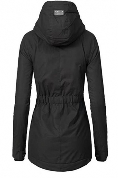 Black Casual Long Sleeve Hooded Drawstring Zipper Button Front Sherpa Liner Fitted Midi Parka Coat for Women