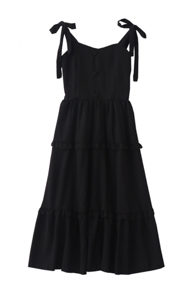 Boutique Ladies' Sleeveless Bow Tie Strap Button Front Ruffled Trim Plain Pleated A-Line Cami Dress