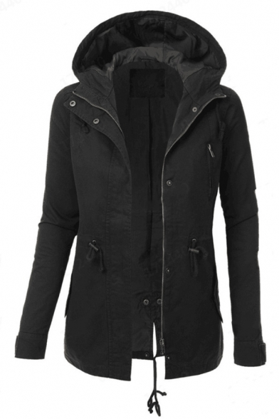 Casual Women's Long Sleeve Hooded Zipper Button Front Drawstring Pockets Side Fitted Plain Trench Coat