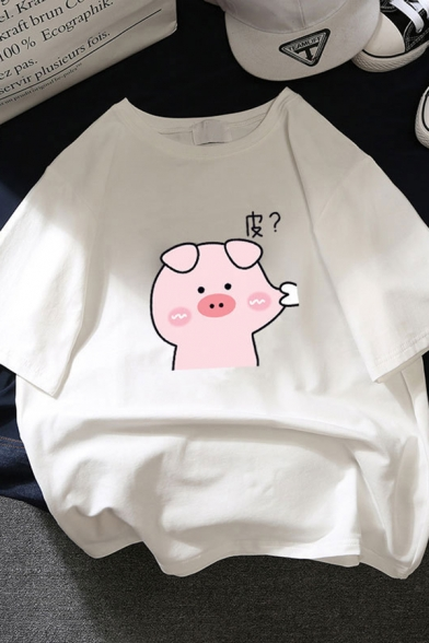 Chic Street Short Sleeve Crew Neck Pig Print Relaxed Fit T Shirt for Women, Blue;white;purple;yellow;brick red, LM583675