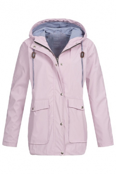 Cozy Warm Long Sleeve Hooded Button Zip Front Drawstring Pockets Side Plain Loose Fit Trench Coat for Women