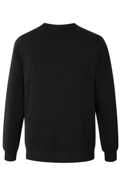 Creative Logo JUST BREAK IT Printed Long Sleeve Round Neck Slim Fit Pullover Sweatshirt