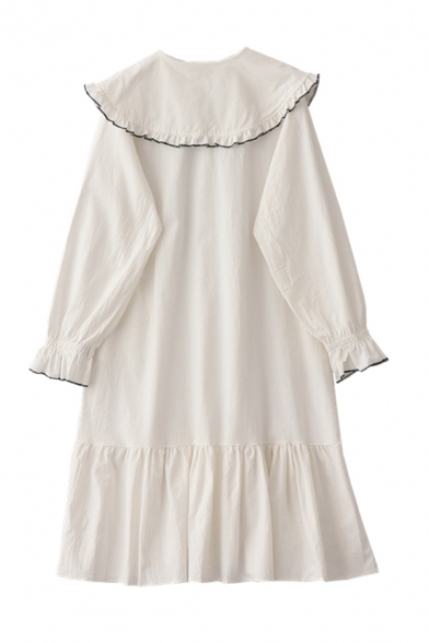 Cute Girls' Long Sleeve Peter Pan Collar Bow Tie Button Down Ruffled Trim Contrast Piped Long Relaxed Swing Dress in White