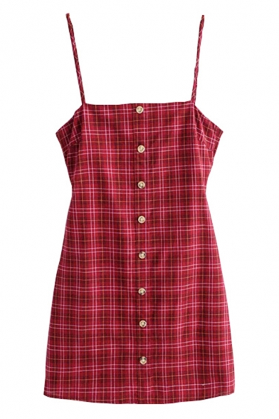 Cute Red Sleeveless Button Down Plaid Patterned Bow Tie Back Cut Out A-Line Cami Dress for Ladies, LM580806