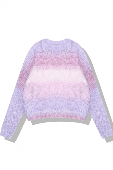 Fashion Ladies' Long Sleeve Crew Neck Ombre Cable Knit Boxy Pullover Sweater, Green;purple, LM580298