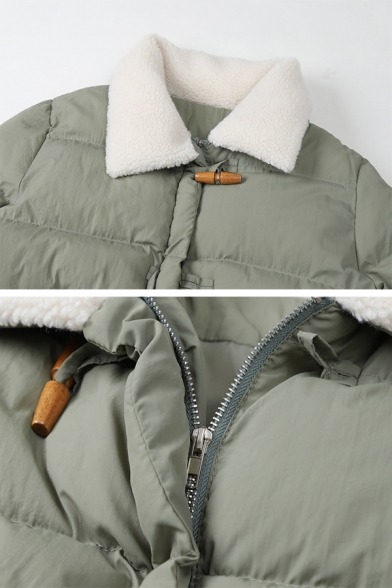 Fashion Plain Long Sleeve Lapel Collar Flap Pockets Sherpa Patched Loose Thick Duffle Down Jacket for Women