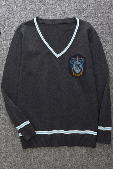 Hot Popular Animal Badge Printed Contrast Trim V-neck Loose Knitted Cosplay Sweater