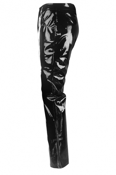 Nightclub Popular Relaxed Fit Black Patent Leather Pants for Men