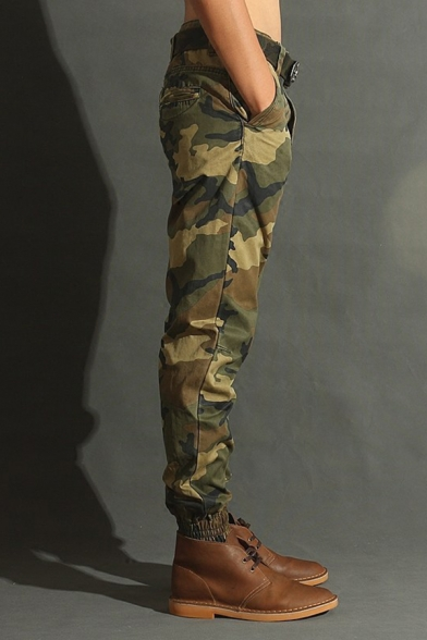 Outdoor Fashion Camouflage Printed Zip Fly Ankle Banded Trousers Army Green Cargo Pants