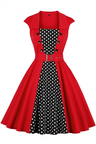 Party Girls' Red Short Sleeve Square Neck Double Breasted Polka Dot Print Patched Buckle Belted Midi Pleated Flared Dress