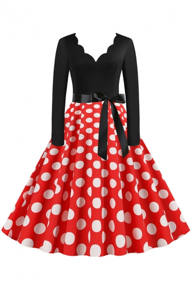 Retro Girls' Long Sleeve V-Neck Bow Tie Waist Polka Dot Patched Scallop Trim Maxi Pleated Swing Dress