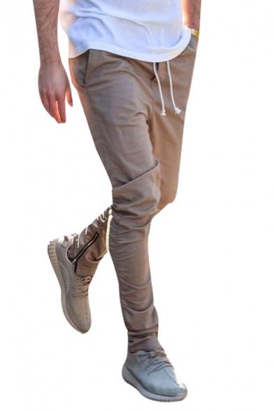 Street Style Plain Drawstring Waist Pleated Zipper Hem Skinny Fit Leisure Pants