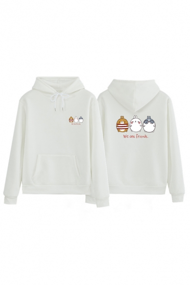 Stylish Women Long Sleeve Drawstring Letter WE ARE FRIENDS Animals Print Kangaroo Pocket Loose Fit Hoodie, Black;blue;pink;red;white;yellow;grey, LM576381