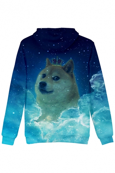 Unique Blue Sky Dog 3D Printed Long Sleeve Casual Drawstring Hoodie