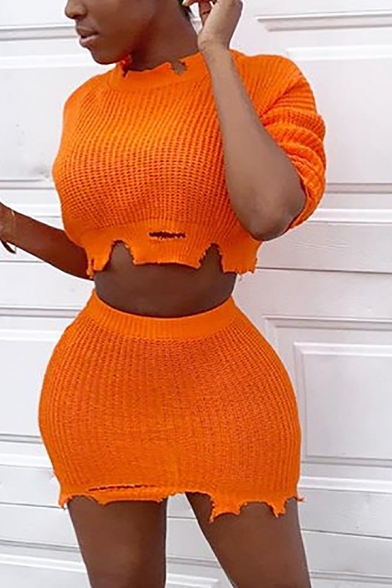 Unique Ripped Destroyed Long Sleeve Crop Sweater & Mini Knitted Skirt Orange Plain Co-ords