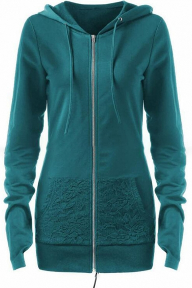Womens Stylish Plain Long Sleeve Zip Up Lace Splicing Lace-Up Back Gothic Hoodie