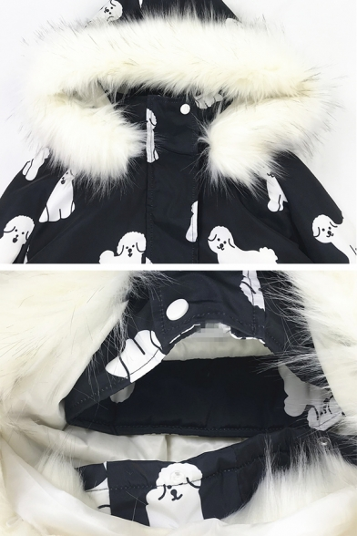Cool Street Girls' Balloon Sleeve Hooded Zipper Front Puppy Printed Flap Pockets Fluffy Thick Oversize Parka Coat in Black
