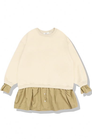 Cute Girls' False Two Piece Long Sleeve Crew Neck Loose Pullover Sweater Dress with Long Sleeve Fluffy Hooded Parka Coat
