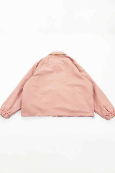 Cute Kawaii Pink Blouson Sleeve Lapel Collar Zipper Front Plaid Print Peach Pattern Reversible Oversize Jacket for Girls