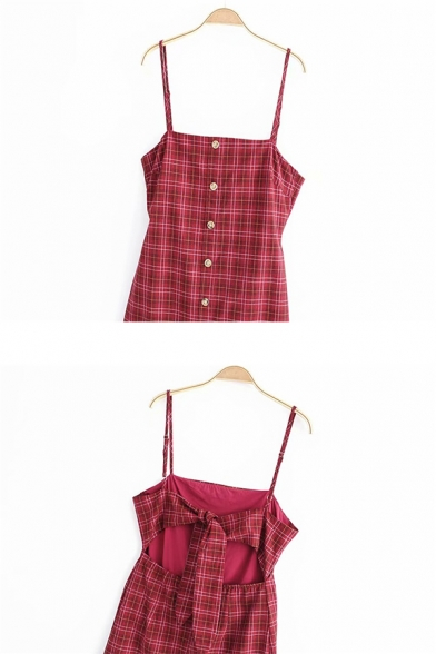 Cute Red Sleeveless Button Down Plaid Patterned Bow Tie Back Cut Out A-Line Cami Dress for Ladies