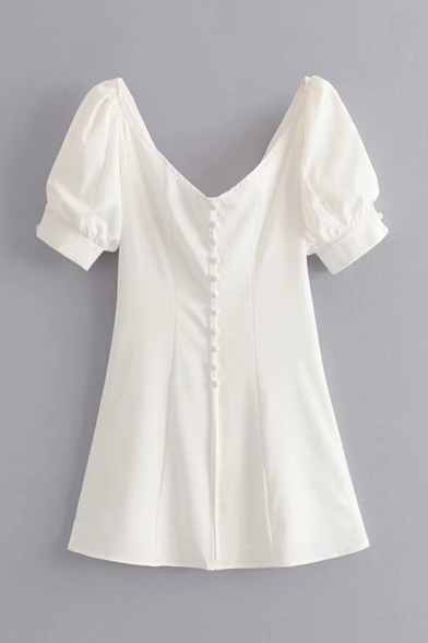 Elegant Pretty White Short Sleeve V-Neck Frog Button Slim Fit Mini A-Line Dress for Girls, LM584668
