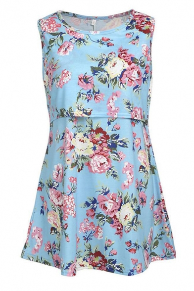 Fancy Women's Sleeveless Round Neck Floral Pattern Relaxed Fit Nursing Tank Top