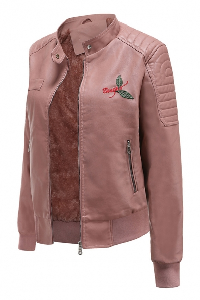 Fashion Ladies' Long Sleeve Stand Collar Zipper Front Letter BESTAD Leaf Printed Fluff Liner Leather Fitted Jacket