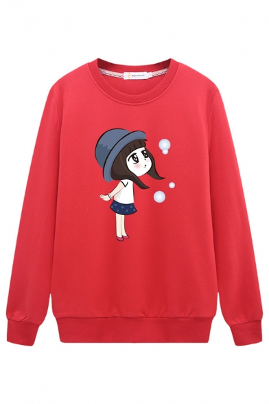 Female Cute Fashion Long Sleeve Crew Neck Girl Patterned Loose Fit Pullover Sweatshirt