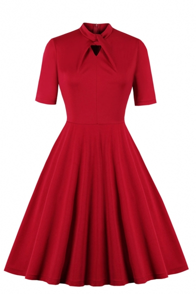 Formal Fancy Girls' Short Sleeve Neck-Tie Zipper Back Hollow Out Midi Pleated Flared Dress in Red, LM581104