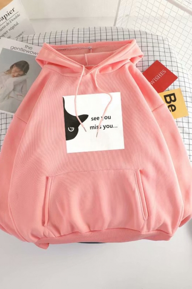 Girls Popular Letter SEE YOU MISS YOU Cat Pattern Long Sleeve Oversized Pullover Hoodie, Black;green;pink;red;white, LC582614