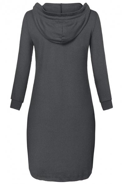 Leisure Plain V-Neck Long Sleeve Slim Fit Longline Loungewear Hoodie for Ladies