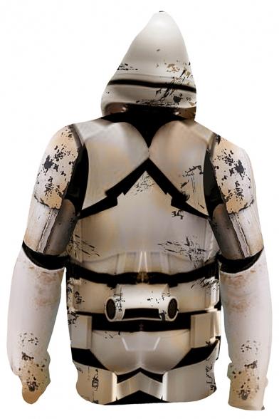 Mens Cool Movie Cosplay Costume Khaki Armour Pattern Zip Up Drawstring Hoodie