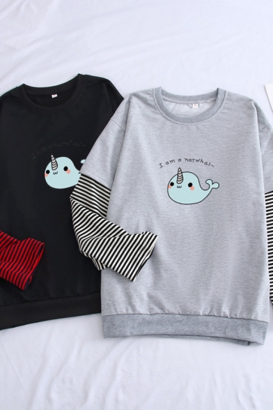 New Arrival Letter I AM A NARWHAL Print Patched Long Sleeve Graphic Sweatshirt