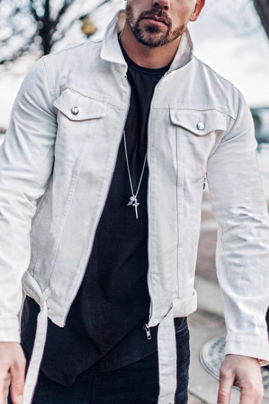 New Popular Solid Color Long Sleeve Chest Pocket Belted Hem Denim Jacket