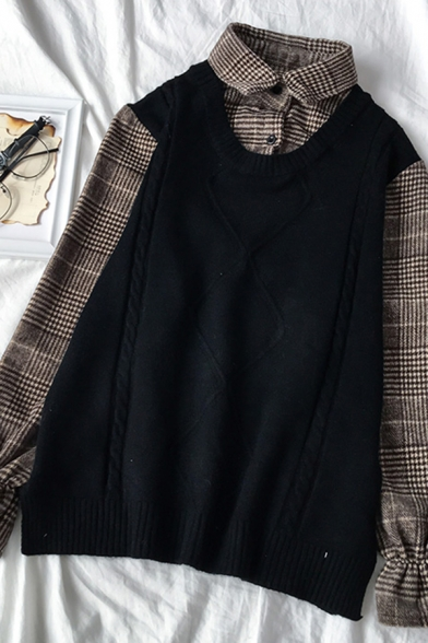 Popular Girls' Ruffle Sleeve Lapel Neck Plaid Printed Cable Knit False Two-Piece Relaxed Shirt, Black;white;khaki, LM583766