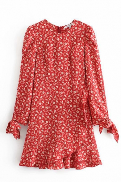 Pretty Women' Red Bow Tie Sleeve Crew Neck All Over Floral Print Zipper Back Ruffle Trim Short Wrap A-Line Dress, LM584673