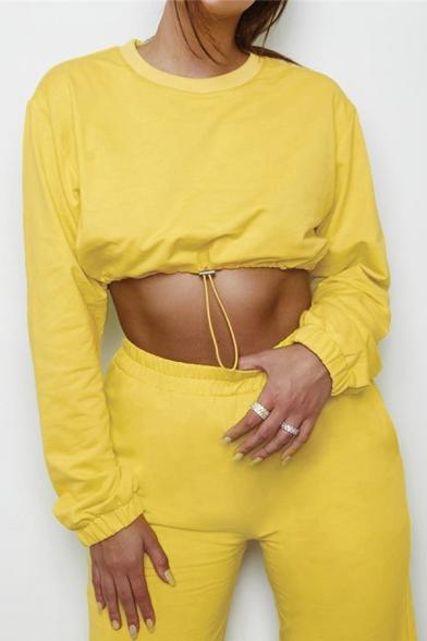 Simple Plain Long Sleeve Drawstring Hem Crop Sweatshirt with Elastic Waist Pants Co-ords
