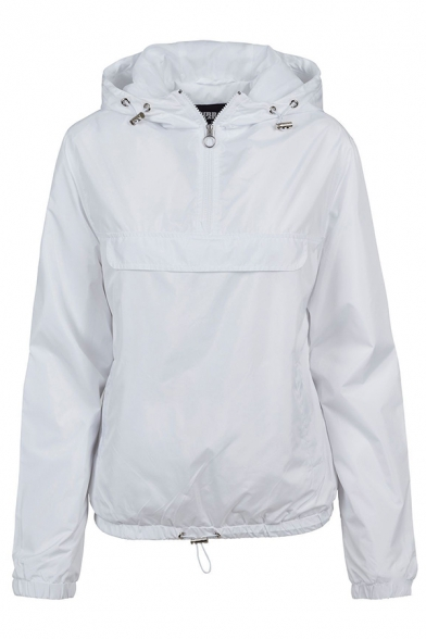 Sport Plain Long Sleeve Hooded Half Zipper Drawstring Baggy Trench Coat for Girls